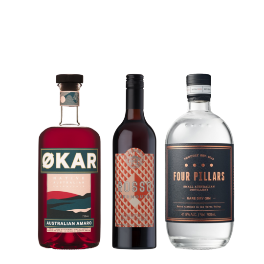 <p>A Negroni as complex, vibrant and multicultural as the country we call home.</p><p>The Four Pillars brings some Asian botanicals, traditional Mediterranean citrus flavour and native lemon myrtle, while the&nbsp;Okar Amaro turns native Riberries, Davidson Plum and Strawberry Gum leaf into an aromatic Italian-style aperitif.&nbsp;Adelaide Hills Distillery Vermouth Rosso channels old vine Grenache with spicy, berry fruitiness, lifted by additions of native anise myrtle, quandong, finger line and sunrise lime. Together, it's an unforgettable, utterly unique Negroni.</p><p><strong>We'll send:</strong></p><p>1 x Applewood Distillery Okar Amaro 750ml <br> 1 x Four Pillars Rare Dry Gin 700ml <br> 1 x Adelaide Hills Distillery Vermouth Rosso 750ml <br><br><strong>You'll need:</strong></p><p>Old Fashioned Glass <br> An Orange <br><br><strong>With these ingredients:</strong></p><p>30ml Applewood Distillery Okar Amaro<br> 30ml Four Pillars Rare Dry Gin<br> 30ml Adelaide Hills Distillery Vermouth Rosso <br><br><strong>Do This:</strong></p><p>Stir all ingredients with ice, fine strain into an ice-filled glass. <br><br><br><strong>This pack will make 23 cocktails </strong></p>