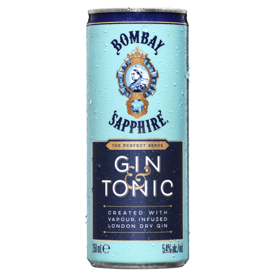 <p><span>The perfect mix of Bombay Sapphire gin and tonic, now in a 10 can pack. Best enjoyed chilled straight from the can or poured over a glass of ice with a slice of lime.</span></p>