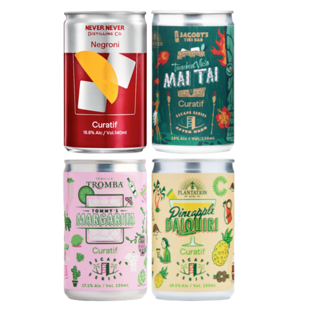 <p>Cocktails in the park? Curatif.</p><p>Cocktails by the beach? Curatif.</p><p>Cocktails ready to go in the fridge all summer long? You'd better believe that's Curatif.</p><p>&nbsp;</p><p>This pack of fruity fellas will set you up for a classy cocktail summer. Time to fancy up that Esky.</p><p>&nbsp;</p><p>4 x Curatif 'Never Never Distilling' Negroni</p><p>4 x Curatif 'Escape Series Plantation Pineapple' Daiquiri</p><p>4 x Curatif 'Escape Series Tequila Tromba' Margarita</p><p>4 x Curatif 'Escape Series Jacoby's Trader Vic's' Mai Tai</p>