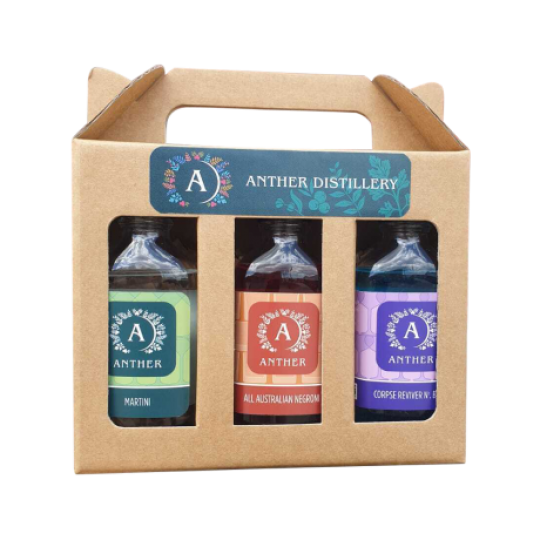 <p>This trio of delicious cocktails, created using local ingredients and producers is definitely on your 'must drink' list this year!&nbsp;</p><p>Anther Mini Cocktail pack includes the Anther Classic Negroni, Anther Classic Martini and Anther Corpse Reviver No. Blue.</p><p>&nbsp;</p><p>Anther Classic Negroni s made with award-winning Anther Gin, Campari and Maidenii Sweet Vermouth. Just chill and pour over ice and garnish with a orange twist or slice.</p><p>&nbsp;</p><p>Anther Classic Martini is made with award-winning Anther Gin, Maidenii Dry Vermouth and lemon.&nbsp; This rich, balanced Martini is a perfect serve, just chill, pour and garnish with lemon or olive.</p><p>&nbsp;</p><p>Anther Corpse Reviver Number Blue is made with award-winning Anther Gin, Maidenii Kina, Marionette Blue Curacao, Absinthe, and lemon. With the new release of Marionette Blue Curacao Anther has teamed up to make an all-time favourite with a blue twist. This vibrant colour is a showstopper in your glass and a tasty party favourite!</p>