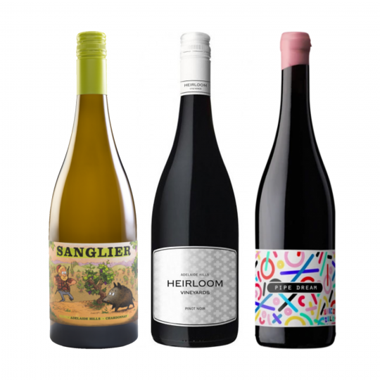 <p>Discover the unique and interesting flavours of the Adelaide Hills with this bundle. With its cool hillsides, warmer lower regions and changing seasons, Adelaide Hills is one of the best places to find delicious South Australian wines, of a wide variety.</p><p>&nbsp;</p><p>Adelaide Hills has become the centre for innovation in Australia over recent years due to its contemporary winemaking and development of some truly exciting drops. There's nothing better than a delicious Pinot and Chardonnay, or for one of Adelaide Hills' most popular varieties, you can't go wrong with the Sauvignon Blanc. All three of these wines represent the coming of age of Adelaide Hills and have contributed to a growing international popularity. Lean, pristine Chardonnay, light, funky Pinot and a truly delicious Nero will have you packing your bags and heading for The Hills.&nbsp;</p><p><br>1 x Sanglier Chardonnay, Adelaide Hills, SA</p><p>1 x Heirloom Vineyards 'Adelaide Hills' Pinot Noir, Adelaide Hills, SA</p><p>1 x Unico Zelo 'Pipe Dream' Nero D'Avola, Adelaide Hills, SA</p><p>&nbsp;</p><p>&nbsp;</p><p>&nbsp;</p><p>&nbsp;</p><p>&nbsp;</p>
