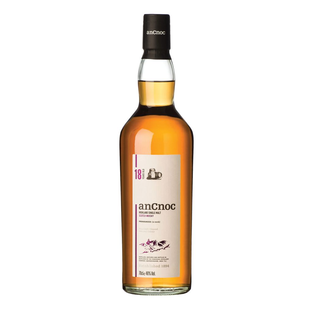 """<p>They say, <em>""""AnCnoc 18 Year Old has been matured in a combination of oloroso sherry and bourbon casks, all of which were second-fill barrels. An aromatic and sweet Highlander.&nbsp;Full-bodied and bold, aromatic spices, fruit loaf and candied lemon are followed by a surge of vanilla, honey and caramel. The finish transforms from peppery and hot to deliciously sweet and smooth.""""</em></p><p>&nbsp;</p><p>A curiously modern whisky with a nod to heritage. anCnoc make traditional drams with contemporary flavours from their Knockdhu distillery in Knock, Banffshire. They use original style copper pot still and worms to distil bold, intense whiskies, from rich single malts to the more peaty expressions.</p>"""