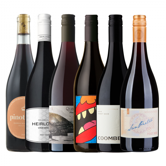 <p>Basically a personal tour of Australia's best pinot regions in one easy bundle. Enjoy the ultimate pinot noir wine-tasting trip from the comfort of your home - and at a fraction of the price.</p><p><br>1 x Express Winemakers Pinot Noir, Great Southern WA</p><p>1 x Heirloom Vineyards Pinot Noir, Adelaide Hills, SA<br><br>1 x Quartier by Port Phillip Estate Pinot Noir, Mornington Peninsula, Vic</p><p>1 x San Pietro Pinot Noir, Mornington Peninsula, Vic</p><p>1 x Animale Pinot Noir, Yarra Valley, Vic</p><p>1 x Coombe Farm Pinot Noir, Yarra Valley, Vic</p><p><br><br></p><p>&nbsp;</p>