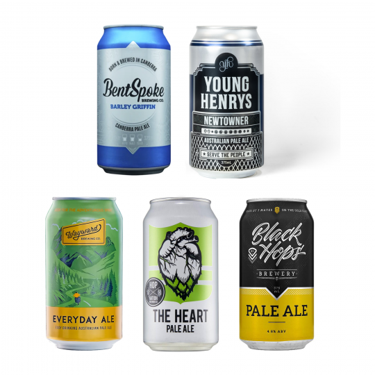 <p>Feeling patriotic? Try an Aussie spin on the classic American Pale Ale.</p><p><br>Beers crisp enough to fight the summer heat.&nbsp;Beers as golden as our beaches.&nbsp;The true beers of a sunburnt country (seriously, wear a hat.)</p><p><br>4 x Black Hops Pale Ale Cans 375 ml</p><p>4 x Bentspoke Barley Griffin Pale Ale 375 ml</p><p>4 x Hop Nation The Heart Pale Ale Cans 375 ml</p><p>6 x Wayward Brewing Everyday Ale Cans 375 ml</p><p>6 x Young Henrys Newtowner Cans 375 ml</p>