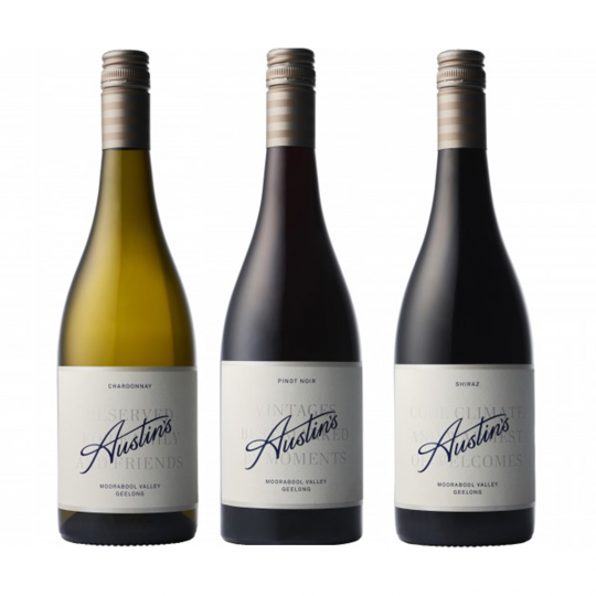 """<p dir=""""ltr""""><span>The Austin's vines are more than 20 years old. This family have been crafting wines that are fruit forward, ready to drink, or can be developed in the bottle over the coming years.&nbsp;</span></p><p dir=""""ltr"""">&nbsp;</p><p dir=""""ltr""""><span>Based in Victoria's beautiful Moorabool Valley, their family of winemakers have one simple philosophy, making exceptional wines to be enjoyed with friends and family. Cheers to that.</span></p><p dir=""""ltr"""">&nbsp;</p><p dir=""""ltr"""">The team at Austin's have strived over recent vintages to elevate the wines in this range.&nbsp; Our hats are off to Scott and the crew - these wines punch well above their weight by ay measure and are well worth a look, a second look or even better - a third.</p><p dir=""""ltr"""">&nbsp;</p><p>1 x Austin's Chardonnay, Moorabool Valley, Vic</p><p>1 x Austin's Pinot Noir, Moorabool Valley, Vic&nbsp;</p><p>1 x Austin's Shiraz,&nbsp;Moorabool Valley, Vic</p>"""