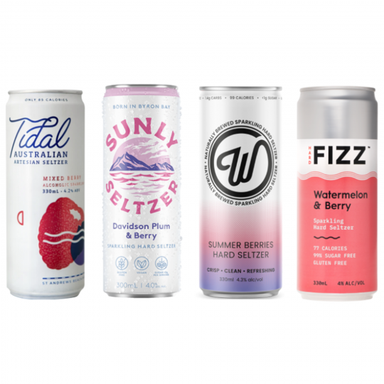 <p>Make this summer the 'berry' best with your new fizzy friends. Fancy 'em up in a glass with some fresh fruit, take them on-the-go for a beachside BBQ. Whatever your plans, these guys are the perfect fit.</p><p><br>4 x Hard Fizz Watermelon &amp; Berry Seltzer</p><p>4 x W Seltzer Summer Berries</p><p>4 x Sunly Seltzer Plum &amp; Berry</p><p>4 x Tidal Mixed Berry Seltzer</p>