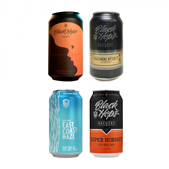 <p>This award winning Gold Coast brewery has been the journey of three mates who were passionate about great beer and cool ideas. Black Hops beers are unpastuerised and preservative-free, so all you get is the pure, natural taste of their success (and, of course, beery goodness).</p><p><br>This mixed pack of limited release beers is available until stocks run out.&nbsp; It'd be a shame to miss out....</p><p>&nbsp;</p><p>4 x Black Hops Neverland Hazy IIPA 375ml</p><p>4 x Black Hops East Coast Haze 375ml</p><p>4 x Black Hops Eggnog Stout 375ml</p><p>4 x Black Hops Super Hornet IIPA<span>&nbsp;375ml</span></p>