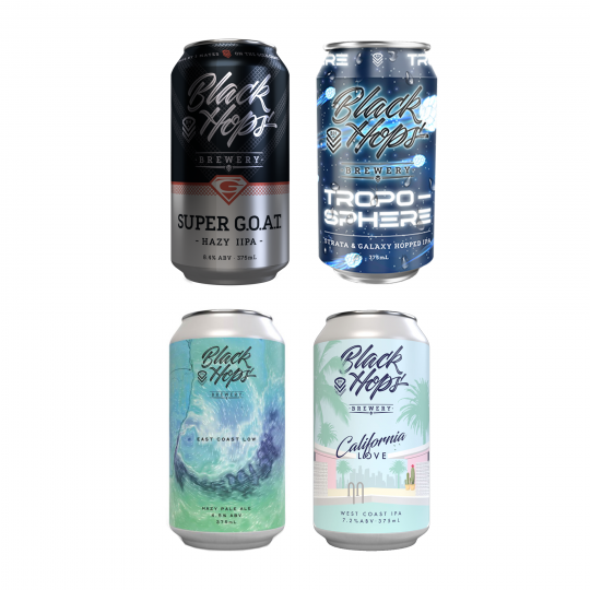 <p>This award winning Gold Coast brewery has been the journey of three mates who were passionate about great beer and cool ideas. Black Hops beers are unpastuerised and preservative-free, so all you get is the pure, natural taste of their success (and, of course, beery goodness).</p><p><br>This mixed pack of limited release beers is available until stocks run out.&nbsp; It'd be a shame to miss out....</p><p>&nbsp;</p><p>4 x Black Hops East Coast Low-Hazy Pale Ale 375ml</p><p>4 x Black Hops Troposphere IPA 375ml</p><p>4 x Black Hops Super Goat Hazy Double IPA 375ml</p><p>4 x Black Hops <span>California Love West Coast IPA 375ml</span></p>