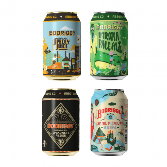 <p>Operating out of&nbsp;<span>an old Auto LP gas converter, this&nbsp;</span>Abbotsford born and bred brewery has been knocking out consistent, high quality beers in Melbourne's inner north since launching in 2016.&nbsp;</p><p>This Bodriggy mixed pack is full of their quality core range classic and are extreme value across the board.&nbsp;</p><p>Contains:</p><p><br>6 x Bodriggy Speccy Juice Hazy Session IPA 355ml Cans<br>6 x Bodriggy Staunch Pilsner 355ml Cans<br>4 x Bodriggy Cosmic Microwave NEIPA 355ml Cans<br>8 x Bodriggy Utropia Pale Ale 355ml Cans</p><p>&nbsp;</p><p><em>Range subject to availability. If stock is unavailable after you've placed your order, we'll get in touch to offer suitable replacements.</em></p>
