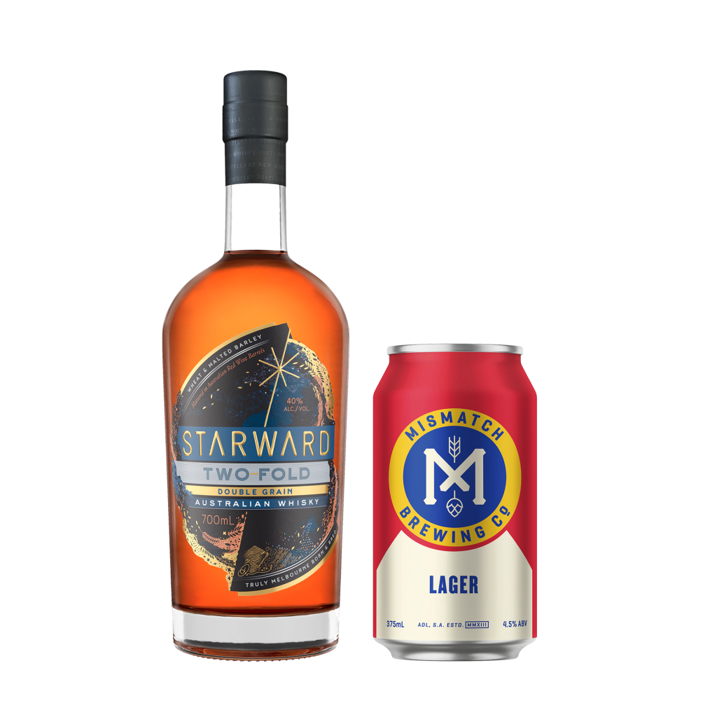 """<p><span data-sheets-value=""""{&quot;1&quot;:2,&quot;2&quot;:&quot;A rich, grain forward whisky, need a good, crisp and bitter lager. Kölsch preferable to elongate that richness.&quot;}"""" data-sheets-userformat=""""{&quot;2&quot;:897,&quot;3&quot;:{&quot;1&quot;:0},&quot;10&quot;:1,&quot;11&quot;:4,&quot;12&quot;:0}"""">Starward Two-Fold is a rich, grain forward whisky.&nbsp; A whisky like this needs a good, crisp and bitter lager. Mismatch Brewing Co Lager is the perfect partner to that richness.</span></p><p>&nbsp;</p><p><span data-sheets-value=""""{&quot;1&quot;:2,&quot;2&quot;:&quot;A rich, grain forward whisky, need a good, crisp and bitter lager. Kölsch preferable to elongate that richness.&quot;}"""" data-sheets-userformat=""""{&quot;2&quot;:897,&quot;3&quot;:{&quot;1&quot;:0},&quot;10&quot;:1,&quot;11&quot;:4,&quot;12&quot;:0}"""">1 x Starward Two-Fold Double Grain Australian Whisky 700ml</span></p><p><span data-sheets-value=""""{&quot;1&quot;:2,&quot;2&quot;:&quot;A rich, grain forward whisky, need a good, crisp and bitter lager. Kölsch preferable to elongate that richness.&quot;}"""" data-sheets-userformat=""""{&quot;2&quot;:897,&quot;3&quot;:{&quot;1&quot;:0},&quot;10&quot;:1,&quot;11&quot;:4,&quot;12&quot;:0}"""">6 x Mismatch Brewing Co Lager Cans 375ml</span></p>"""