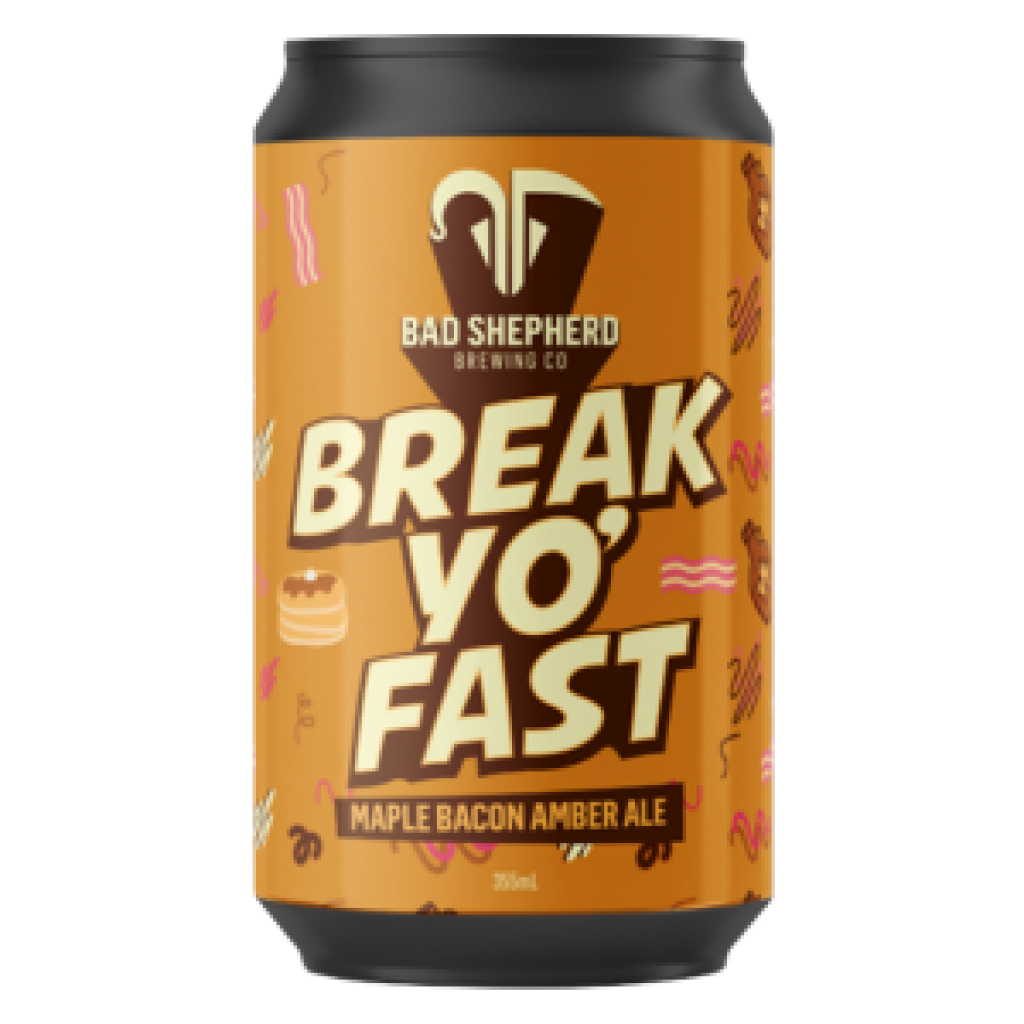 """<p>They say, <em>""""Wakey, wakey, sleepy head!&nbsp;It's time to Break Yo' Fast with this smoky sweet amber ale and a side of sticky maple bacon pancakes. We don't always have beer for brekkie but this is a special occasion. It's our 5th Birthday Limited Edition brew so go on, treat yo' self!""""</em></p><p>&nbsp;</p><p>Bad Shepherd wants to lead you into temptation with the most interesting, curious and wonderful beers they can imagine. Beers to thrill and fulfil. Beers worth venturing into the unknown for.</p>"""