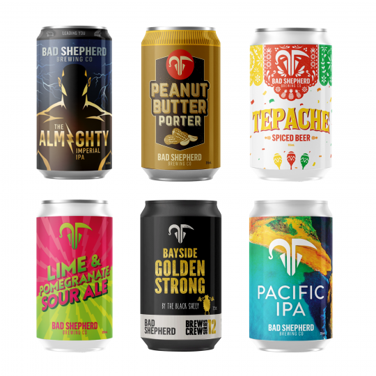 <p>Bad Shepherd wants to lead you into temptation with the most interesting, curious and wonderful beers they can imagine. Beers to thrill and fulfil. Beers worth venturing into the unknown for.</p><p><br>Limited releases from the bad-boy rule-breakers of Aussie craft brewing. You've got your sweet, your sour, your hoppy fellas and an extra special spicy little number, all in one tidy package.</p><p><br>4 x Bad Shepherd Almighty Imperial IPA cans 440ml</p><p>4 x Bad Shepherd Golden Strong cans 355ml</p><p>4 x Bad Shepherd Pacific IPA cans 355ml</p><p>4 x Bad Shepherd Lime &amp; Pomegranate Sour cans 355ml</p><p>4 x Bad Shepherd Tepache cans 355ml</p><p>4 x Bad Shepherd Peanut Butter Porter cans 355ml</p>