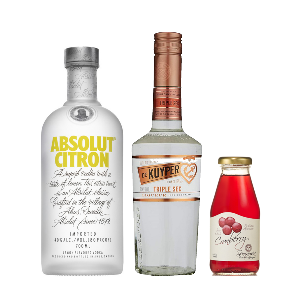 """<p><strong>We'll send:</strong></p><p><span style=""""font-weight: 400;"""">1 x </span> <span style=""""font-weight: 400;"""">Absolut Citron Vodka&nbsp; : 700ml</span></p><p><span style=""""font-weight: 400;"""">1 x </span> <span style=""""font-weight: 400;"""">De Kuyper Triple Sec : 500ml</span></p><p><span style=""""font-weight: 400;"""">4 x </span> <span style=""""font-weight: 400;"""">Sunraysia 5 Star Cranberry : 250ml</span></p><p>&nbsp;</p><p><strong>You'll need:</strong></p><p><span style=""""font-weight: 400;"""">Lime Juice</span></p><p><span style=""""font-weight: 400;"""">An Orange</span></p><p><span style=""""font-weight: 400;"""">A Martini Glass</span></p><p>&nbsp;</p><p><strong>With these ingredients:</strong></p><p><span style=""""font-weight: 400;"""">45ml</span> <span style=""""font-weight: 400;"""">Absolut Citron Vodka</span></p><p><span style=""""font-weight: 400;"""">15ml</span> <span style=""""font-weight: 400;"""">De Kuyper Triple Sec</span></p><p><span style=""""font-weight: 400;"""">30ml</span> <span style=""""font-weight: 400;"""">Sunraysia 5 Star Cranberry</span></p><p><span style=""""font-weight: 400;"""">10ml</span> <span style=""""font-weight: 400;"""">Lime Juice</span></p><p>&nbsp;</p><p><span style=""""font-weight: 400;""""><strong>Do This</strong>:</span> <span style=""""font-weight: 400;"""">Shake all ingredients with ice and fine strain into a chilled glass.</span></p><p><span style=""""font-weight: 400;"""">Garnish with a twist of orange&nbsp; - a wedge of lime will do too</span></p><p>&nbsp;</p><p><strong>This pack will make 15 cocktails </strong></p>"""