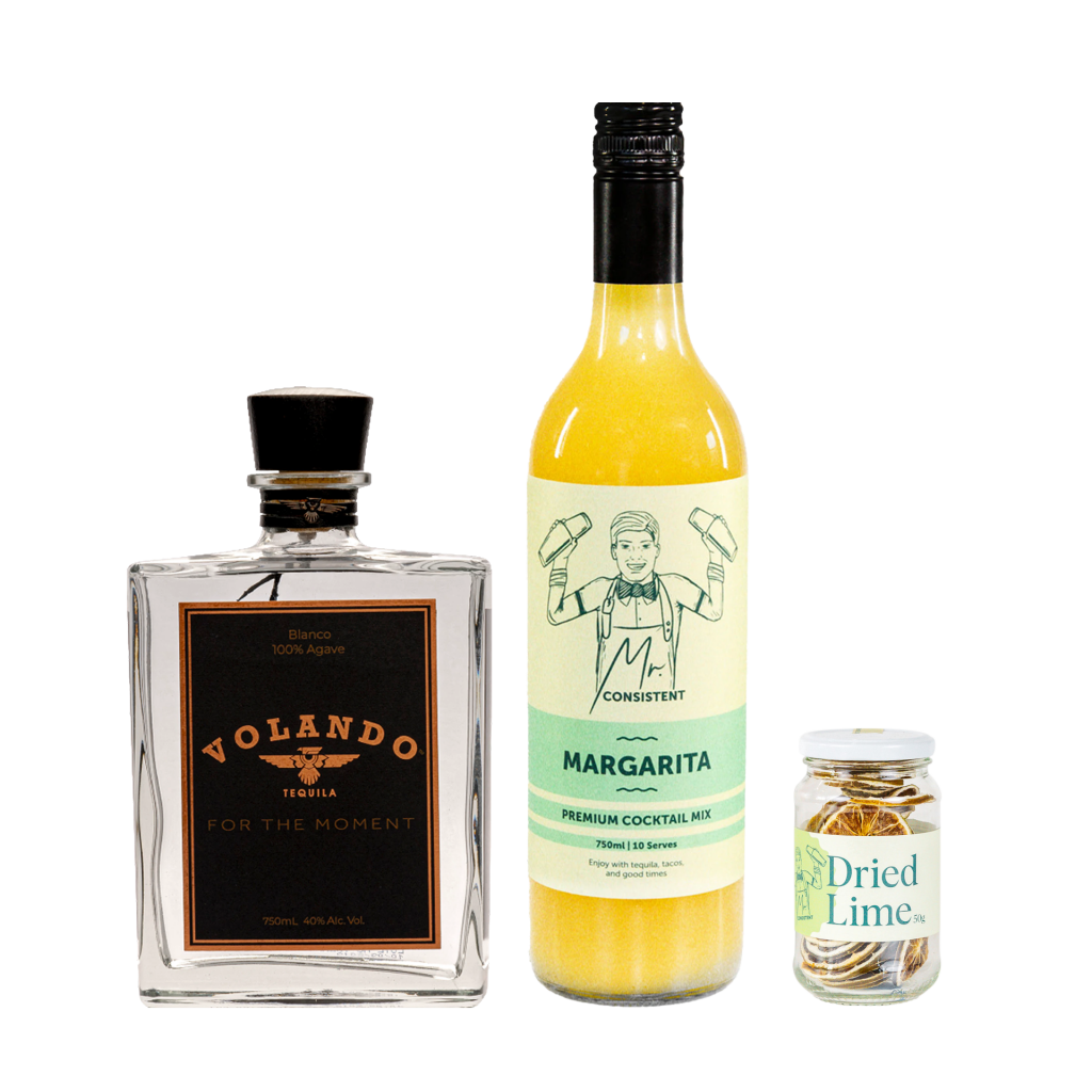 <p>Forget having to juice all the limes and source the liqueurs, this bundle will make the perfect Margarita every time - hassle free.</p><p>&nbsp;</p><p><strong>We'll send: </strong></p><p>1 x Volando Tequila Blanco 750ml<br>1 x Mr Consistent Margarita Mix 750ml<br>1 x Mr Consistent Dried Limes 50g</p><p><br><strong>You'll need: </strong></p><p>Salt <br> An Old Fashioned Glass <br><br><br><strong>With these ingredients:</strong></p><p>Salt<br> 45ml Volando Tequila Blanco<br> 75ml Mr Consistent Margarita Mix<br> 1 Mr Consistent Dried Lime<br><br><br><strong>Do This:</strong></p><p>Rim the glass with salt and fill it with ice. <br> Shake all ingredients, except dried lime with ice and fine strain into the glass. <br> Garnish by floating a dried lime. <br><br><strong>This pack will make 10 cocktails with almost 1/2 a bottle of tequila to spare. Grab some extra Margarita Mix on your way out if you're having a party. </strong></p>