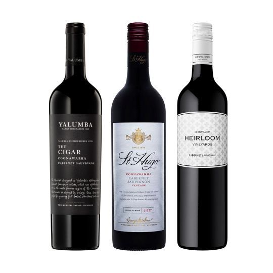 """<p>Coonawarra is a region world renowned for Cabernet production.&nbsp; Nowhere else in Australia does the French expression 'terrior' come into such sharp focus.&nbsp; Cabernet grown on the distinctive red, terra rossa, soils show distinctive characteristics that speak&nbsp; directly to their origin.</p><p>&nbsp;</p><p>This bundle is the perfect way to explore the region.&nbsp; Flame grilled rib-eye and lamb roast not included but highly, highly recommended.&nbsp;</p><p>&nbsp;</p><p>To know this region is to love its wines - if you've not been, this is as good a place to start as any.</p><p>&nbsp;</p><table style=""""width: 1373.33px;"""" cellspacing=""""0"""" cellpadding=""""0"""" dir=""""ltr""""><tbody><tr><td style=""""width: 1368.33px;"""" data-sheets-value=""""{&quot;1&quot;:2,&quot;2&quot;:&quot;Yalumba The Cigar Cabernet Sauvignon 6 Pack : 750 Ml&quot;}""""> <div> <div>1 x Yalumba 'The Cigar' Cabernet Sauvignon, Coonawarra, SA</div> </div> </td> </tr><tr><td style=""""width: 1368.33px;"""" data-sheets-value=""""{&quot;1&quot;:2,&quot;2&quot;:&quot;St Hugo Coonawarra Cabernet Sauvignon : 750 Ml&quot;}""""> <div> <div>1 x St Hugo 'Coonawarra' Cabernet Sauvignon, Coonawarra, SA</div> </div> </td> </tr><tr><td style=""""width: 1368.33px;"""" data-sheets-value=""""{&quot;1&quot;:2,&quot;2&quot;:&quot;Heirloom Coonawara Cabernet : 750 Ml&quot;}""""> <div> <div>1 x Heirloom 'Coonawarra' Cabernet Sauvignon, Coonawarra, SA</div> </div> </td> </tr></tbody></table>"""