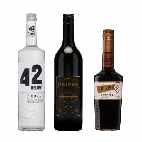 """<p><strong>We'll send:</strong></p><p><span style=""""font-weight: 400;"""">1x</span> <span style=""""font-weight: 400;"""">42 Below Pure Vodka : 700ml</span></p><p><span style=""""font-weight: 400;"""">1x</span> <span style=""""font-weight: 400;"""">De Kuyper Creme de Cafe : 500ml</span></p><p><span style=""""font-weight: 400;"""">1x</span> <span style=""""font-weight: 400;"""">Little Drippa Coffee Cocktail : 750ml</span></p><p>&nbsp;</p><p><strong>You'll need:</strong></p><p><span style=""""font-weight: 400;"""">Salt (If you're fancy)</span></p><p><span style=""""font-weight: 400;"""">A Martini Glass</span></p><p><span style=""""font-weight: 400;"""">3 Coffee Beans</span></p><p>&nbsp;</p><p><strong>With these ingredients:</strong></p><p><span style=""""font-weight: 400;"""">45ml</span> <span style=""""font-weight: 400;"""">42 Below Pure Vodka</span></p><p><span style=""""font-weight: 400;"""">30ml</span> <span style=""""font-weight: 400;"""">Little Drippa Cocktail Coffee</span></p><p><span style=""""font-weight: 400;"""">20ml</span> <span style=""""font-weight: 400;"""">De Kuyper Creme de Cafe</span></p><p><span style=""""font-weight: 400;"""">1 Pinch</span>&nbsp;of s<span style=""""font-weight: 400;"""">alt (Optional)</span></p><p>&nbsp;</p><p><strong>Do This:</strong></p><p><span style=""""font-weight: 400;"""">Shake all ingredients with ice and fine strain into a chilled glass</span></p><p><span style=""""font-weight: 400;"""">Garnish by floating 3 coffee beans.</span></p><p>&nbsp;</p><p><strong>This pack will make 15 cocktails</strong></p>"""