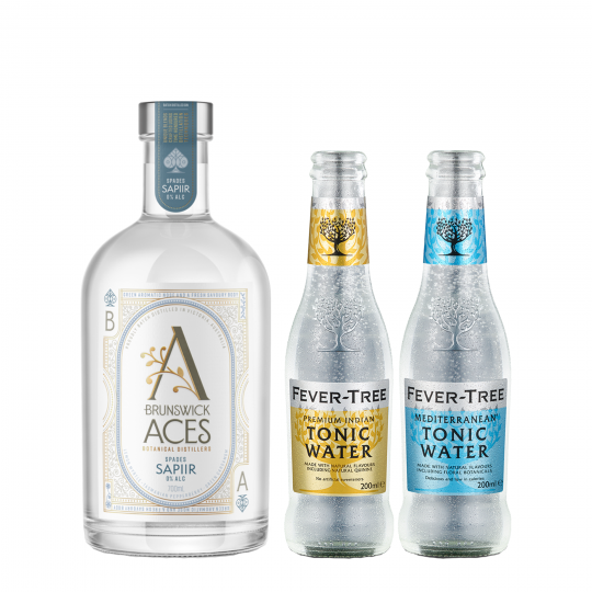 <p>Facing a G&amp;T free February?&nbsp; Why not give this a try?</p><p>&nbsp;</p><p>Brunswick Aces 'Spades Blend' Sapiir&nbsp;<span>is inspired by savoury fresh blend, in a classic gin style, leading with notes of green cardamom and parsley, beautifully balanced by sweet citrus and native Australian Lemon Myrtle.</span></p><p>&nbsp;</p><p>The perfect alternative for when a G&amp;Ts are off the cards for awhile.</p><p>&nbsp;</p><p>1 x Brunswick Aces 'Spades Blend' Sapiir 700ml</p><p>4 x Fever Tree Indian Tonic Water 200ml</p><p>4 x Fever Tree&nbsp;Mediterranean Tonic Water 200ml</p>