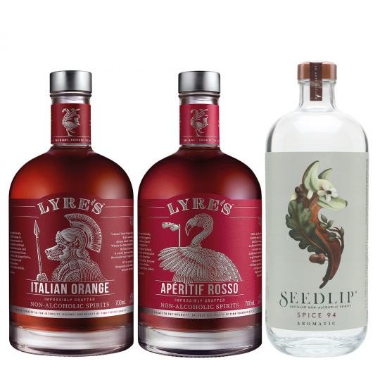 <p>Facing a no Negroni July?&nbsp; Try our Faux-groni.</p><p>&nbsp;</p><p>All the taste without the hangover.</p><p>&nbsp;</p><p>1 x Seedlip Spice 94 700ml</p><p>1 x Lyre's Italian Orange 700 ml</p><p>1 x Lyre's Rosso Vermouth 700ml</p>