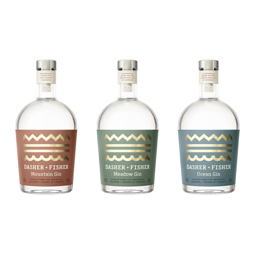 <p>All three of the core multi-award winning range of Dasher &amp; Fisher gins. Taste Tasmania.</p><p>&nbsp;</p><p>From pure snowmelt waters of north-west Tasmania, Dasher &amp; Fisher bring forth incomparable gins based on the variety of the local landscape. At the core of the classic gins are the 'Tassie Trio' of botanicals: native pepperberry, lavender, wakame.</p>