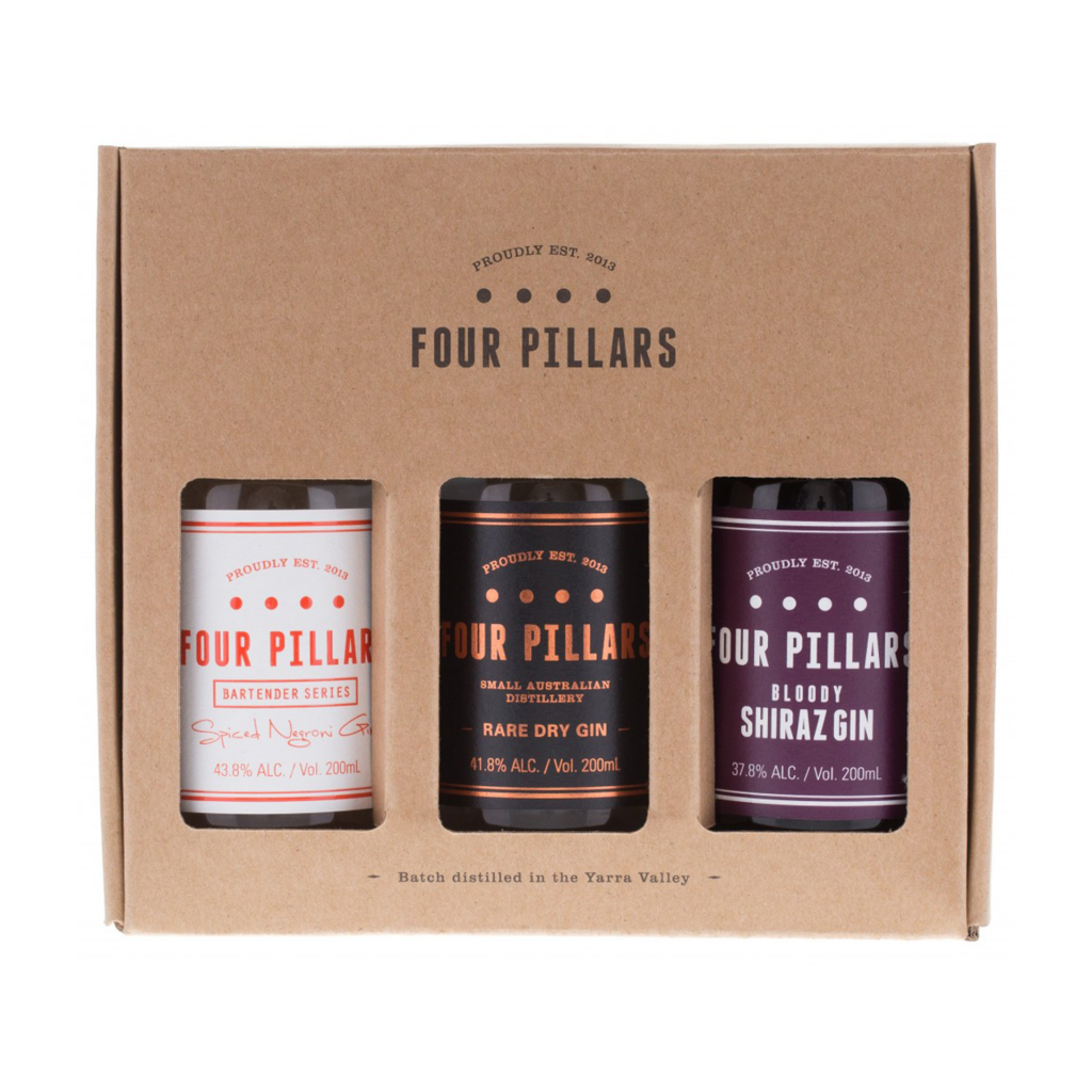 <p>Gin-decisive? We have a solution.&nbsp;</p><p>&nbsp;</p><p>Three award-winning Four Pillars gins in one pack. The classic Rare Dry, the juicy Bloody Shiraz, and the aromatic Spiced Negroni Gin - the only gin in the world custom-made for your favourite cocktail. Make it a gift from you to you.</p><p>&nbsp;</p><p>1 x 200ml Rare Dry Gin</p><p>1 x 200ml Bloody Shiraz Gin</p><p>1 x 200ml Spiced Negroni Gin</p><p>&nbsp;</p><p>Four Pillars has been slinging the finest gin outta Healesville since 2013. Specialist gins. Award-winning gins. Gins for every cocktail and straight-sippin' liquor-lover.</p>