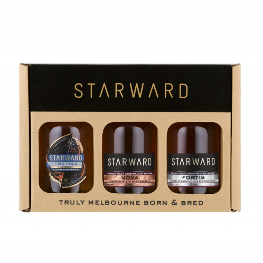 <p>This Starward Whisky Gift Pack features three 200ml bottles of their awarded and lauded whiskies: Two-Fold, Nova and Fortis.</p><p><br><strong>Two-Fold</strong>: approachable whisky, enjoyed any way you like. Double grain spirit (Australian barley and wheat), fully matured in red wine barrels from famed Australian wine regions.</p><p><br><strong>Nova</strong>: the signature, award-winning single malt. Fully matured in red wine barrels, Nova is deliciously balanced and bold.</p><p><br><strong>Fortis</strong>: a single malt celebrating Australian ingredients and the red wine barrel maturation Starward is known for. The first higher ABV release for Starward, Fortis is matured in 100% American Oak red wine barrels for fuller and richer mouthfeel.</p><p>&nbsp;</p>