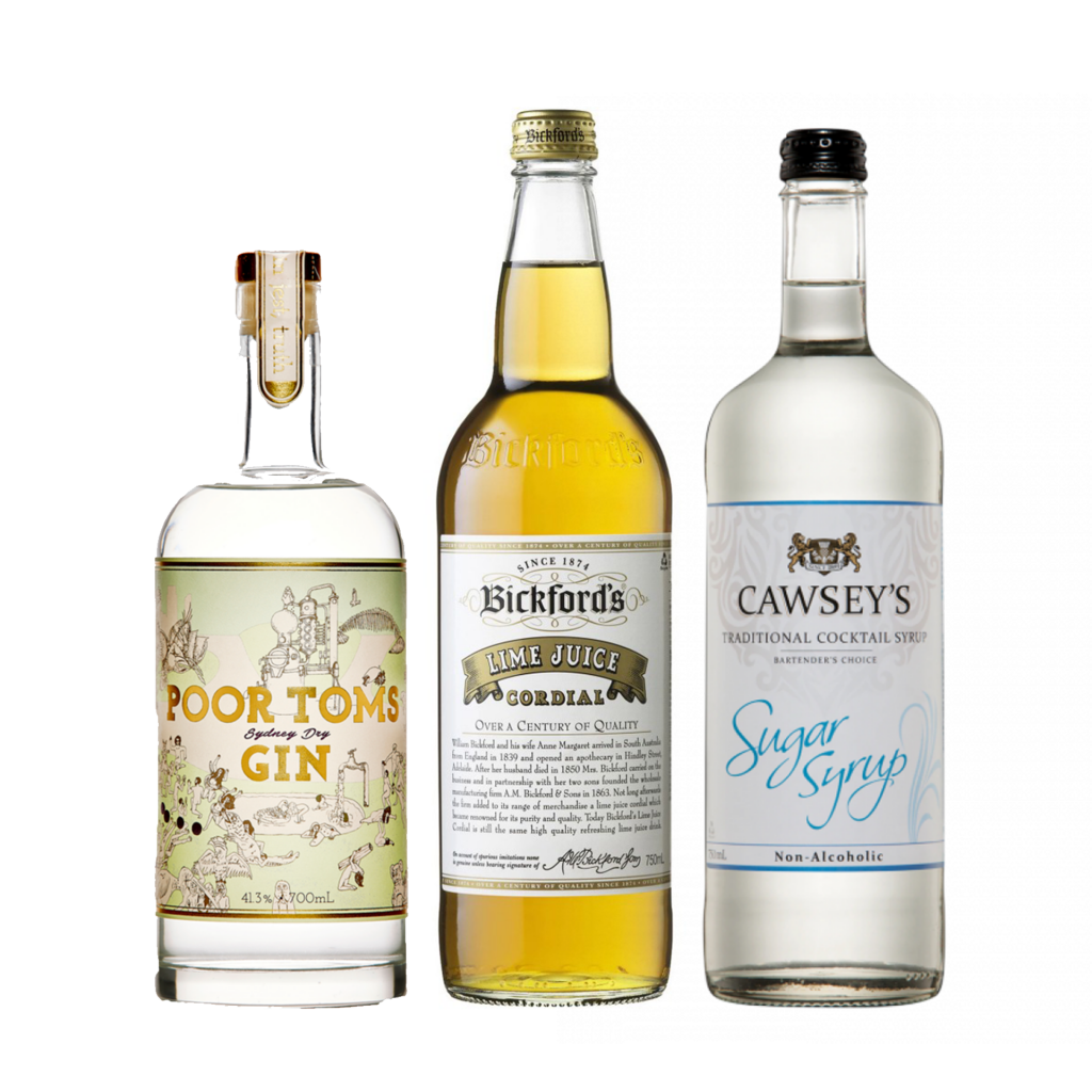 """<p><strong>We'll send:</strong></p><p><span style=""""font-weight: 400;"""">1 x </span> <span style=""""font-weight: 400;"""">Poor Tom's Sydney Dry Gin : 700ml</span></p><p><span style=""""font-weight: 400;"""">1 x </span> <span style=""""font-weight: 400;"""">Cawsey's Sugar Syrup : 750ml</span></p><p><span style=""""font-weight: 400;"""">1 x </span> <span style=""""font-weight: 400;"""">Bickford's Lime Cordial : 750ml</span></p><p>&nbsp;</p><p><strong>You'll need: </strong></p><p><span style=""""font-weight: 400;"""">A Lime</span></p><p><span style=""""font-weight: 400;"""">A Coupe Glass</span></p><p>&nbsp;</p><p><strong>With these ingredients:</strong></p><p><span style=""""font-weight: 400;"""">60ml</span> <span style=""""font-weight: 400;"""">Poor Tom's Sydney Dry Gin&nbsp;</span></p><p><span style=""""font-weight: 400;"""">7.5ml</span> <span style=""""font-weight: 400;"""">Cawsey's Sugar Syrup</span></p><p><span style=""""font-weight: 400;"""">5ml</span> <span style=""""font-weight: 400;"""">Bickford's Lime Cordial</span></p><p>&nbsp;</p><p><strong>Do This:</strong></p><p><span style=""""font-weight: 400;"""">Shake all ingredients with ice and fine strain into a chilled glass.</span></p><p><span style=""""font-weight: 400;"""">Garnish with a twist of lime</span></p><p>&nbsp;</p><p><strong>This pack will make 11 cocktails</strong></p>"""