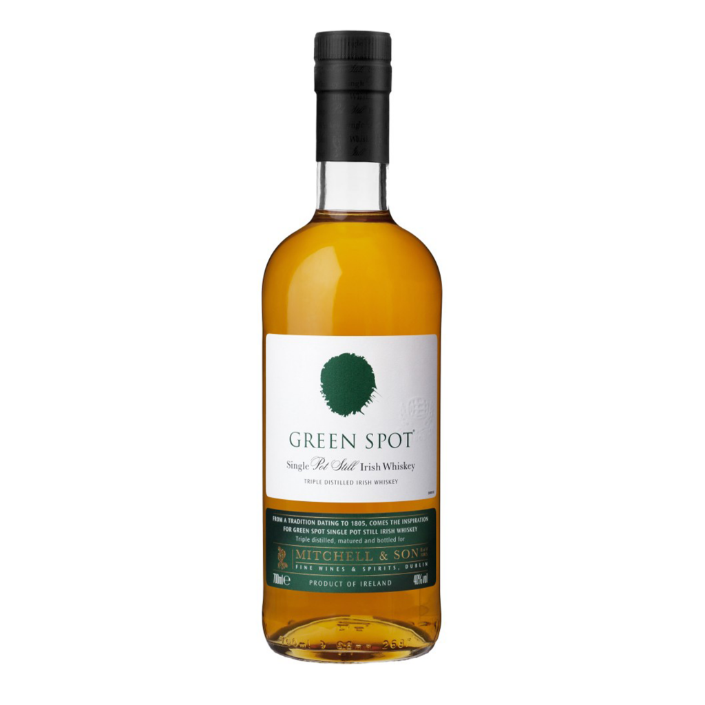 """<p>They say, <em>""""Nose:&nbsp;Fresh aromatic oils and spices with orchard fruits and barley on a background of toasted wood.&nbsp;Taste:&nbsp;Full spicy body. A hint of cloves along with the fruity sweetness of green apples, rounded off with toasted oak. Followed by lingering flavours of spices and barley.""""</em></p><p>&nbsp;</p><p>Produced by Midleton Distillery for Mitchell &amp; Son of Dublin, Green Spot is a single pot still whiskey of distinction. The 'Green Spot' refers to its ageing, being a mix of 7 and 10 year old whiskeys. Matured in both first and second fill bourbon casks as well as sherry casks to produce a super-premium, award-winning pot-still Irish whiskey beloved by whiskey fans the world over. """"If you see it, grab it. It's too much of a high class one-off to ignore."""" - Jim Murray's Whisky Bible.</p>"""