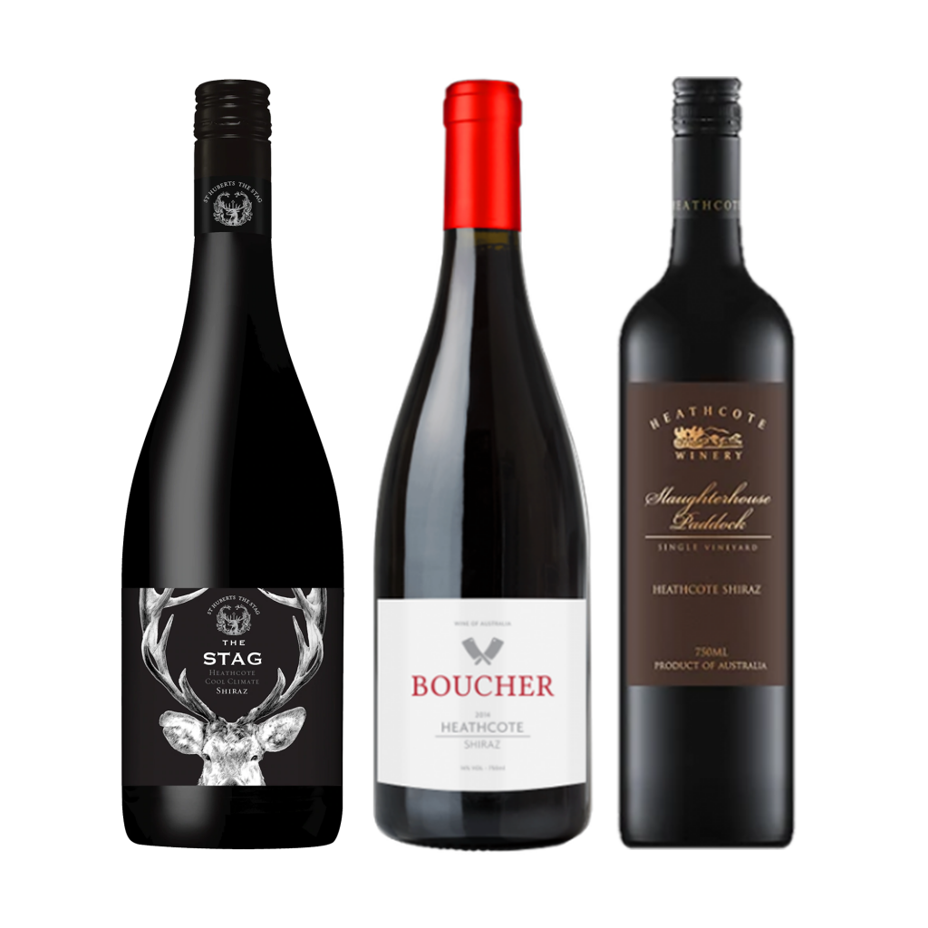 """<p dir=""""ltr""""><span>Defined by their inky depth of colour and deep, dark complex fruit, Heathcote shiraz offers a voluptuous and well balanced flavour. With acid and tannin melded together to give the wine great cellaring ability.&nbsp;</span></p><p dir=""""ltr"""">&nbsp;</p><p dir=""""ltr""""><span>St Huberts 'The Stag' Shiraz displays the classic Heathcote profile of black pepper spice supporting ripe blue fruit.&nbsp; A classic style from an iconic Australian producer.</span></p><p dir=""""ltr"""">&nbsp;</p><p dir=""""ltr""""><span>Crafted by winemaker, Luke Boucher, the Boucher Heathcote is a deliciously concentrated Shiraz. You'll be glad you tried this gem!</span></p><p dir=""""ltr"""">&nbsp;</p><p dir=""""ltr""""><span>Ripe, robust and generously flavoured, the Heathcote Slaughterhouse is a beautifully crafted Shiraz, offering an infusion of dark berry fruits and cedary oak-derived spices. A truly memorable wine!</span></p><p dir=""""ltr""""><span>&nbsp;</span></p><p dir=""""ltr""""><span>1 x St Hubert's 'The Stag' Shiraz, Heathcote, Vic</span></p><p dir=""""ltr""""><span><br>1 x Boucher Shiraz, Heathcote, Vic</span></p><p dir=""""ltr""""><span><br>1 x Heathcote 'Slaughterhouse Vineyard' Shiraz, Heathcote, Vic</span></p>"""