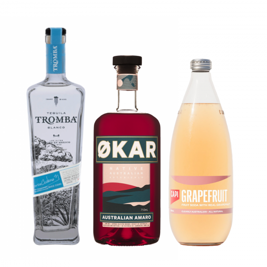 <p><strong>We'll send:</strong></p><p>1 x Tromba Blanco Tequila 750ml <br>1x Capi Grapefruit 750ml <br>1x Okar Amaro 750ml <br><br><br><strong>You'll need:</strong></p><p>A Highball Glass <br> Grapefruit to garnish <br><br><br><strong>In an ice filled glass, pour:</strong></p><p>30ml Tromba Blanco Tequila 750ml<br> 125ml Capi Grapefruit 750ml<br> float 15ml of Okar Amaro 750ml<br><br><br>Garnish with a slice of Grapefruit</p><p>&nbsp;</p><p><strong>This pack will make 25 drinks </strong></p>