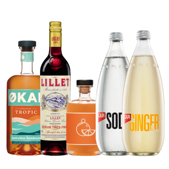<p><strong>We'll send:</strong></p><p>1 x Okar Orange Tropic <br>1 x Lillet Rouge Aperitif 750ml <br>1 x Unico Mando 500ml <br>1 x Capi Ginger Beer 750ml <br>1 x Capi Soda Water 750ml</p><p>&nbsp;</p><p><strong>You'll need:</strong></p><p>A Highball Glass <br> Oranges to garnish <br><br><br><strong>In an ice filled glass, pour:</strong></p><p>30ml Okar Orange Tropic<br> 30ml Lillet Rouge Aperitif<br> 20ml Unico Mando<br> Top up 1/2 &amp; 1/2 with Capi Ginger Beer &amp; Soda Water<br><br>Garnish with a slice of Orange</p><p>&nbsp;</p><p><strong>This pack will make 16 drinks</strong></p>