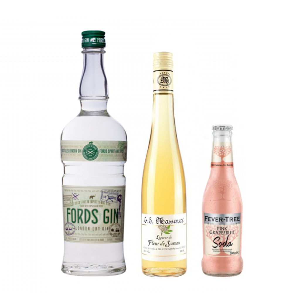 <p><strong>We'll send:</strong></p><p>1 x Fords Gin 700ml <br>1x Massenez Elderflower Liqueur 500ml <br>2 x 4 Pack of Fever Tree Pink Grapefruit Soda 200ml <br><br><br><strong>You'll need:</strong></p><p>A Highball Glass <br> Lemons <br><br><br><strong>In an ice filled glass, pour:</strong></p><p>30ml Fords Gin <br> 15ml Massenez Elderflower Liqueur <br> Top with Fever Tree Pink Grapefruit Soda <br><br><br>Garnish with a twist of lemon <br><br><strong>This pack will make 23 drinks</strong></p>
