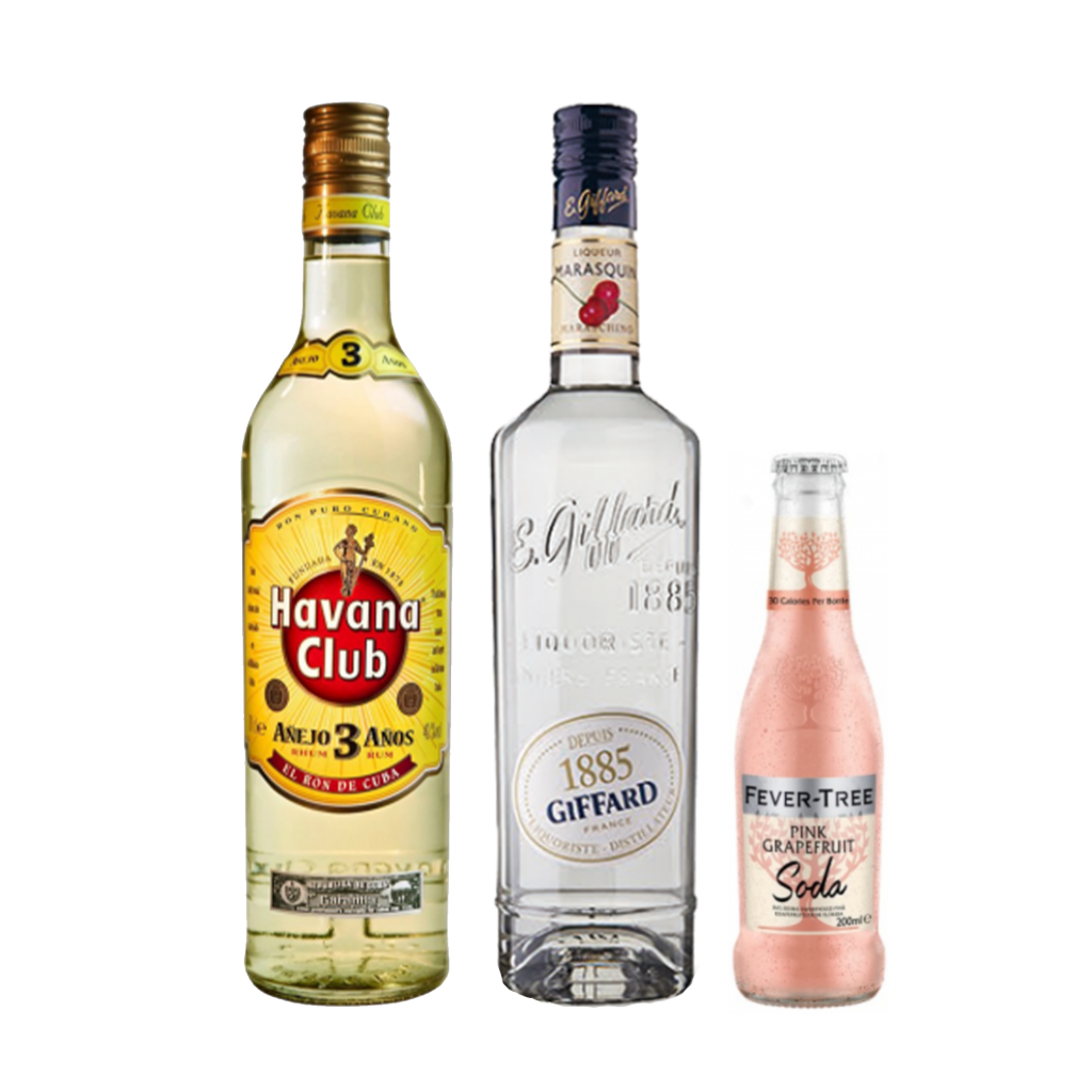 <p><strong> We'll send:</strong></p><p>1 x Havana Club Anejo White Rum 700ml <br>1 x Giffard Maraschino Liqueur 700ml <br>2 x 4 Pack of Fever Tree Pink Grapefruit Soda 200ml <br><br><br><strong>You'll need:</strong></p><p>A Highball Glass <br> Limes <br><br><br><strong>In an ice filled glass, pour:</strong></p><p>30ml Havana Club Anejo White Rum<br> 5ml Giffard Maraschino Liqueur<br> 10ml Lime Juice<br> Top with Fever Tree Pink Grapefruit Soda<br><br>Garnish with a lime wheel <br><br><strong>This pack will make 23 drinks</strong></p>