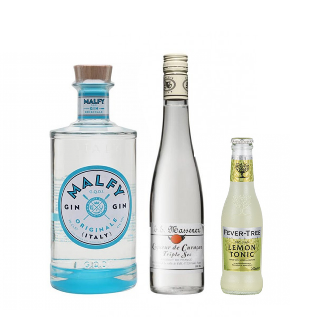 <p><strong>We'll send:</strong></p><p>1 x Malfy Gin Originale 700ml<br>1x Massenez Dry Curacao Liqueur 500ml<br>2 x 4 pack of Fever Tree Sicilian Lemon Tonic 200ml<br><br><br><strong>You'll need:</strong></p><p>Highball Glass<br> Oranges<br><br><strong>In an ice filled glass, pour:</strong></p><p>30ml&nbsp;Malfy Gin Originale<br> 15ml&nbsp;Massenez Dry Curacao Liqueur<br> Top with&nbsp;Fever Tree Sicilian Lemon Tonic<br><br>Garnish with a wedge of orange <br><br><strong>This pack will make 23 drinks</strong> </p>
