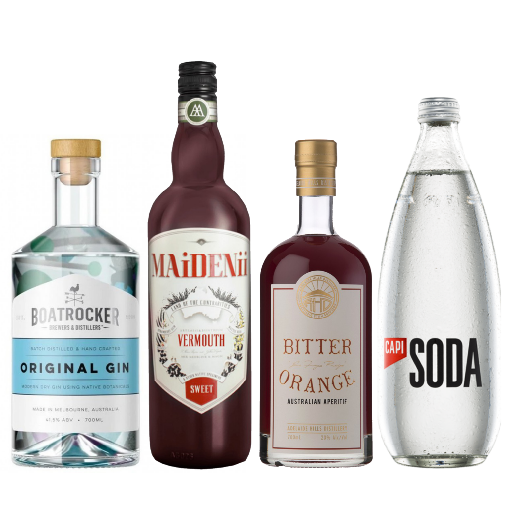 <p><strong>We'll send:</strong></p><p>1 x Boatrocker Original Gin 700ml <br>1 x Maidenii Sweet Vermouth 750ml <br>1 x Adelaide Hills Bitter Orange 700ml <br>2 x Capi Soda Water 750ml <br><br><strong>You'll need:</strong></p><p>Wineglass <br> Oranges <br><br><br><strong>In an ice filled glass, pour:</strong></p><p>30ml Boatrocker Original Gin<br> 30ml Maidenii Sweet Vermouth<br> 30ml Adelaide Hills Bitter Orange<br> 60ml Capi Soda Water<br><br>Garnish with a wedge of Orange <br><br><strong>This pack will make 23 drinks</strong></p>