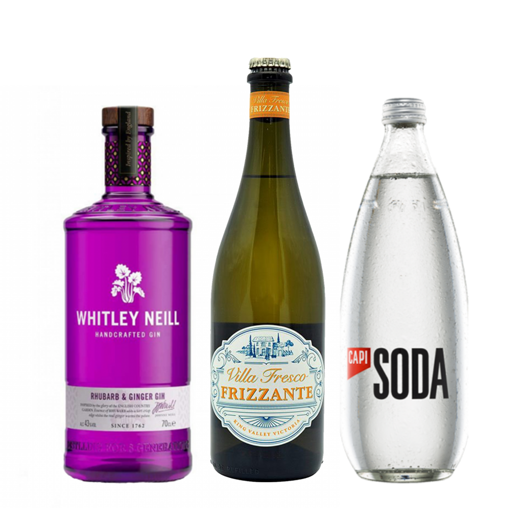 <p><strong>We'll send:</strong></p><p>1 x Whitley Neill Rhubarb &amp; Ginger Gin 700ml <br>1 x Villa Fresco Frizzante 750ml <br>2 x Capi Soda Water 750ml<br><br><strong>You'll need:</strong></p><p>A Wine Glass <br> Lemons to garnish <br><br><br><strong>In an ice-filled glass, pour:</strong></p><p>50ml Whitley Neill Rhubarb &amp; Ginger Gin<br> 120ml Villa Fresco Frizzante<br> Splash Capi Soda Water<br><br><br>Garnish with a wedge of Lemon</p><p>&nbsp;</p><p><strong>This pack will make 14 drinks </strong></p>