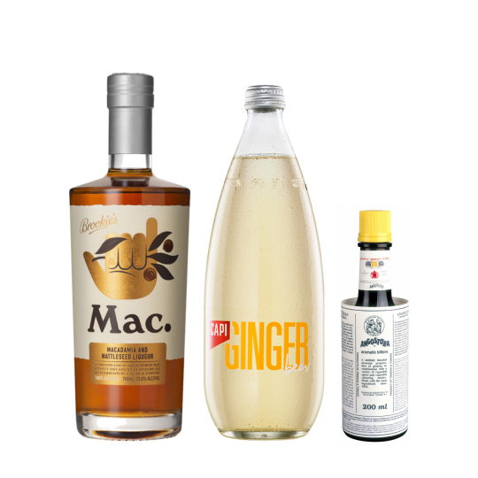 <p><strong>We'll send:</strong></p><p>1 x Mac By Brookie's Macadamia And Wattleseed Liqueur 700ml <br>1 x Capi Ginger Beer 750ml <br>1 x Angostura Bitters 200ml <br><br><br><strong>You'll need:</strong></p><p>A Highball Glass <br> Limes <br><br><br><strong>In an ice filled glass, pour:</strong></p><p>45ml Mac By Brookie's Macadamia And Wattleseed Liqueur <br> Top with Capi Ginger Beer <br> 1 dash of Angostura Bitters <br> Squeeze of Fresh Lime <br><br>Garnish with a lime wedge</p><p>&nbsp;</p><p><strong>This pack will make 15 drinks </strong></p>