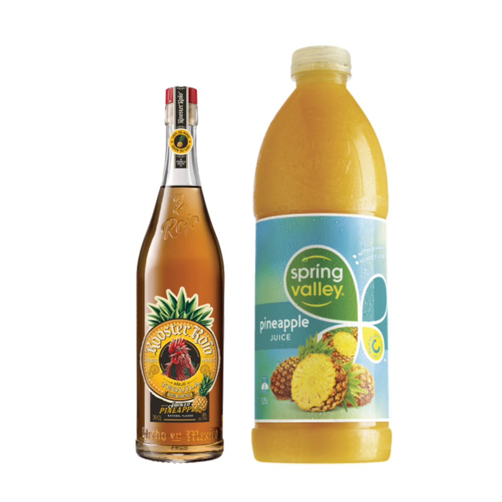<p><strong>We'll send:</strong></p><p>1 x Rooster Rojo Smoked Pineapple Anjeo Tequila 700ml <br>1x Spring Valley Pineapple Juice 1.25l</p><p>&nbsp;</p><p><strong>You'll need:</strong></p><p>Highball Glass <br> Limes <br> Pineapple for garnish</p><p>&nbsp;</p><p><strong>In an ice filled glass, pour:</strong></p><p>50ml Rooster Rojo Smoked Pineapple&nbsp;Anjeo Tequila<br> 10ml Lime Juice <br> 120ml Spring Valley Pineapple Juice <br><br><br>Garnish with a wedge of Pineapple <br><br><strong>This pack will make 10 drinks </strong></p>