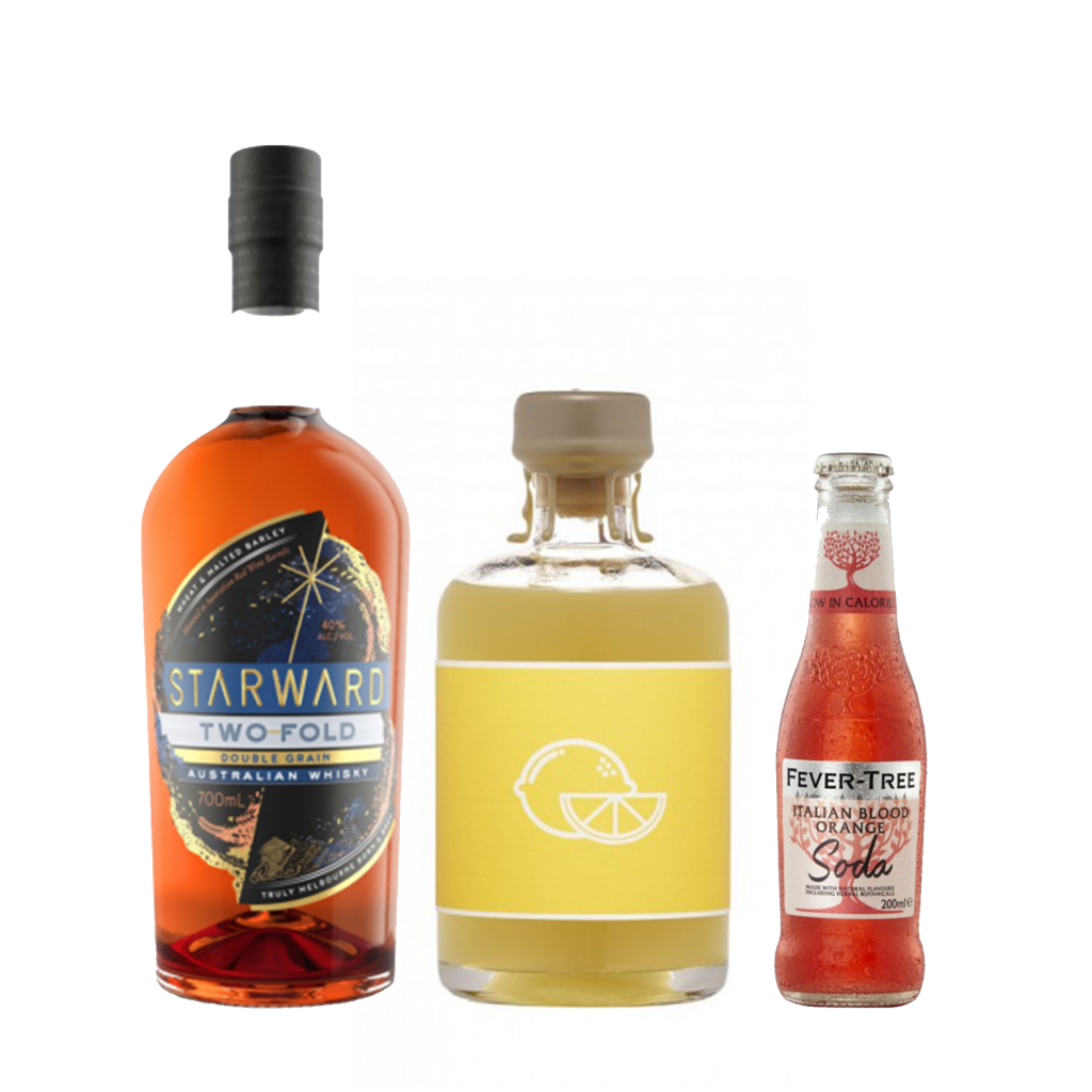 <p><strong>We'll send:</strong></p><p>1 x Starward Two-Fold Double Grain Whisky 700ml <br>1 x Unico Limoncello 500ml <br>2 x 4 Pack of Fever Tree Blood Orange Soda 200ml <br><br><br><strong>You'll need:</strong></p><p>A Highball Glass<br> Oranges<br><br><strong>In an ice filled glass, pour:</strong></p><p>30ml Starward Two-Fold Double Grain Whisky <br> 20ml Unico Limoncello <br> Top with Fever Tree Blood Orange Soda <br><br><br>Garnish with a wedge of orange <br><br><strong>This pack will make 23 drinks</strong> </p>