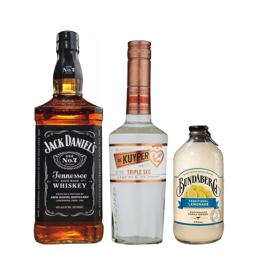 """<p><strong>We'll send:</strong></p><p><span style=""""font-weight: 400;"""">1 x</span> <span style=""""font-weight: 400;"""">Jack Daniels : 700ml</span></p><p><span style=""""font-weight: 400;"""">1 x</span> <span style=""""font-weight: 400;"""">De Kuyper Triple Sec : 500ml</span></p><p><span style=""""font-weight: 400;"""">4 x </span> <span style=""""font-weight: 400;"""">Bundaberg Lemonade : 375ml</span></p><p>&nbsp;</p><p><strong>You'll need:</strong></p><p><span style=""""font-weight: 400;"""">Lemons</span></p><p><span style=""""font-weight: 400;"""">A Collins Glass</span></p><p>&nbsp;</p><p><strong>With these ingredients:</strong></p><p><span style=""""font-weight: 400;"""">40ml</span> <span style=""""font-weight: 400;"""">Jack Daniels</span></p><p><span style=""""font-weight: 400;"""">25ml</span> <span style=""""font-weight: 400;"""">De Kuyper Triple Sec</span></p><p><span style=""""font-weight: 400;"""">25ml</span> <span style=""""font-weight: 400;"""">Lemon Juice</span></p><p><span style=""""font-weight: 400;"""">50ml</span> <span style=""""font-weight: 400;"""">Bundaberg Lemonade</span></p><p>&nbsp;</p><p><strong>Do This: </strong></p><p><span style=""""font-weight: 400;"""">Pour the first 4 ingredients to your glass, add a splash of lemonade, fill the glass with ice and then top with more lemonade.</span></p><p><span style=""""font-weight: 400;"""">Garnish with a wheel of lemon.</span></p><p>&nbsp;</p><p><strong>This pack will make 17 cocktails</strong></p>"""