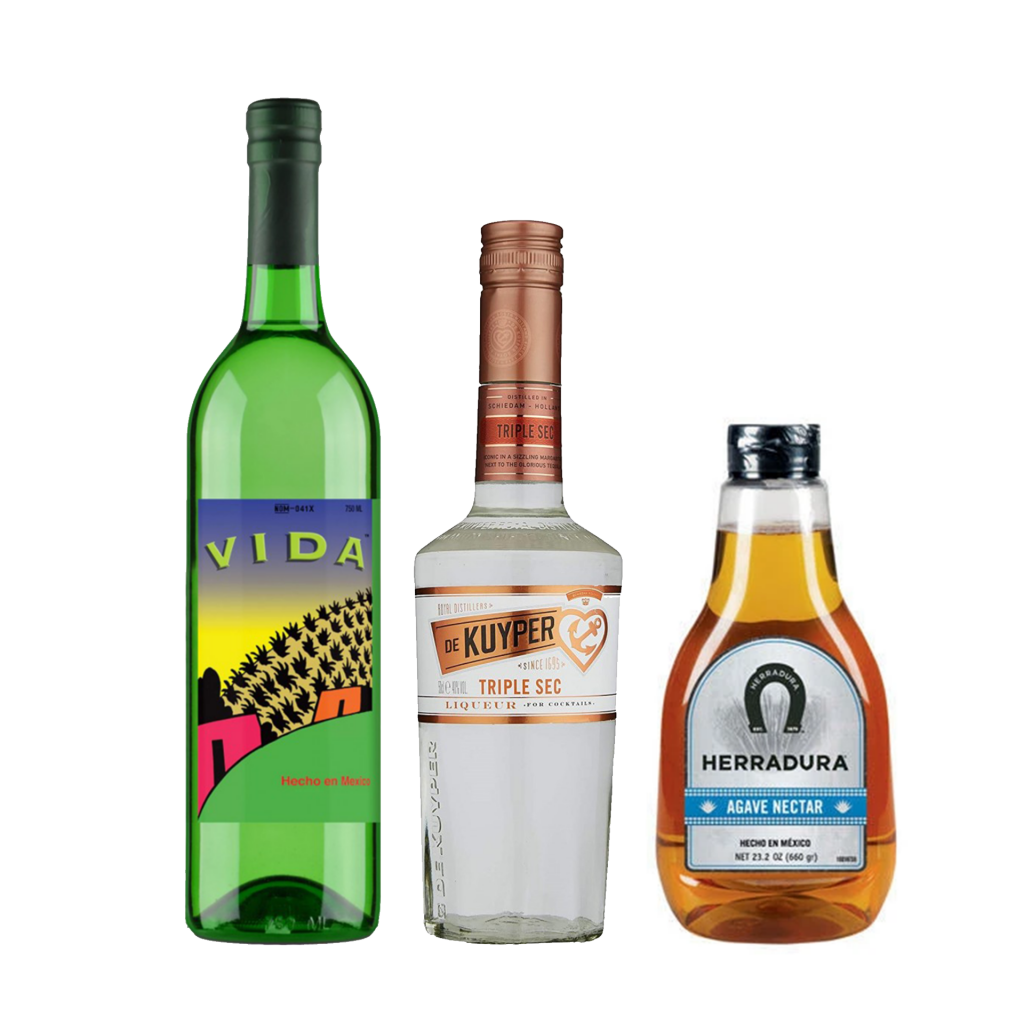<p>The Mezcal here gives a lovely, smokey twist to the already amazing Margarita. You won't be disappointed.</p><p><strong>We'll send:</strong></p><p>1 x Del Maguey 'Vida' Mezcal 750ml <br> 1 x De Kuyper Triple Sec 500ml <br> 1 x Herradura Agave Nectar 478ml <br><br><br><strong>You'll need:</strong></p><p>Limes <br> Salt <br> An Old Fashioned Glass <br><br><br><strong>With these ingredients: </strong></p><p>Salt <br> 45ml Del Maguey Mezcal Vida <br> 25ml De Kuyper Triple Sec <br> 25ml Lime Juice <br> 5ml Herradura Agave Nectar <br><br><strong>Do This:</strong></p><p>Rim the glass with salt and fill it with ice. <br> Shake all ingredients with ice and fine strain into the glass. <br><br><br><strong>This pack will make 16 cocktails</strong></p>