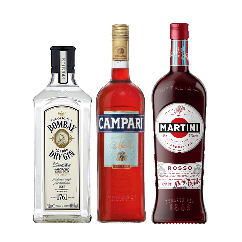 """<p>Say Buongiorno to flavour with this bittersweet Italian number. Maybe it's the orange, maybe it's the botanicals, but this ice-cold gal feels like a rosy summer afternoon - whatever the season.</p><p><br>Not only is a negroni an absolute classic, these are three core, versatile liquors every serious home bartender needs in the cabinet.</p><p><br>(It's also really, really easy)</p><p>&nbsp;</p><p><strong>We'll send:</strong></p><p><span style=""""font-weight: 400;"""">1 x</span> <span style=""""font-weight: 400;"""">Bombay Dry Gin : 700ml</span></p><p><span style=""""font-weight: 400;"""">1 x</span> <span style=""""font-weight: 400;"""">Campari: 700ml</span></p><p><span style=""""font-weight: 400;"""">1 x</span> <span style=""""font-weight: 400;"""">Martini Rosso : 1000ml</span></p><p>&nbsp;</p><p><strong>You'll need:</strong>&nbsp;</p><p><span style=""""font-weight: 400;"""">Old Fashioned Glass</span></p><p><span style=""""font-weight: 400;"""">An Orange</span></p><p>&nbsp;</p><p><strong>With these ingredients:</strong></p><p><span style=""""font-weight: 400;"""">30ml</span> <span style=""""font-weight: 400;"""">Bombay Dry Gin&nbsp;</span></p><p><span style=""""font-weight: 400;"""">30ml</span> <span style=""""font-weight: 400;"""">Campari</span></p><p><span style=""""font-weight: 400;"""">30ml</span> <span style=""""font-weight: 400;"""">Martini Rosso</span></p><p>&nbsp;</p><p><strong>Do This:</strong></p><p><span style=""""font-weight: 400;"""">Stir all ingredients with ice, fine strain into an ice-filled glass.</span></p><p><span style=""""font-weight: 400;"""">Garnish with an orange twist</span></p><p>&nbsp;</p><p><strong>This pack will make 23 cocktails</strong></p>"""