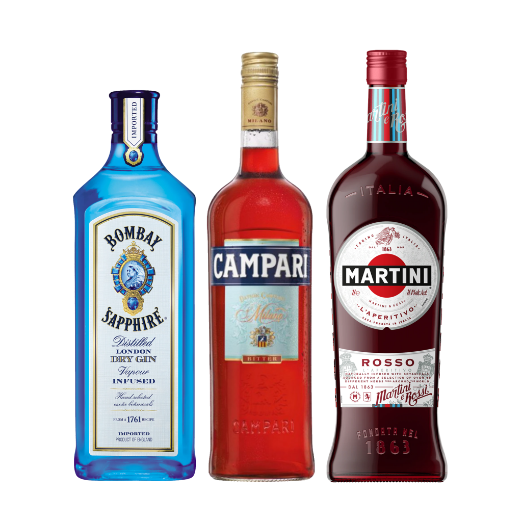 """<p>Say Buongiorno to flavour with this bittersweet Italian number. Maybe it's the orange, maybe it's the botanicals, but this ice-cold gal feels like a rosy summer afternoon - whatever the season.</p><p><br>Not only is a negroni an absolute classic, these are three core, versatile liquors every serious home bartender needs in the cabinet.</p><p><br>(It's also really, really easy)</p><p>&nbsp;</p><p><strong>We'll send:</strong></p><p><span style=""""font-weight: 400;"""">1 x</span> <span style=""""font-weight: 400;"""">Bombay Saphire Gin : 700ml</span></p><p><span style=""""font-weight: 400;"""">1 x</span> <span style=""""font-weight: 400;"""">Campari: 700ml</span></p><p><span style=""""font-weight: 400;"""">1 x</span> <span style=""""font-weight: 400;"""">Martini Rosso : 1000ml</span></p><p>&nbsp;</p><p><strong>You'll need:</strong>&nbsp;</p><p><span style=""""font-weight: 400;"""">Old Fashioned Glass</span></p><p><span style=""""font-weight: 400;"""">An Orange</span></p><p>&nbsp;</p><p><strong>With these ingredients:</strong></p><p><span style=""""font-weight: 400;"""">30ml</span> <span style=""""font-weight: 400;"""">Bombay Dry Gin&nbsp;</span></p><p><span style=""""font-weight: 400;"""">30ml</span> <span style=""""font-weight: 400;"""">Campari</span></p><p><span style=""""font-weight: 400;"""">30ml</span> <span style=""""font-weight: 400;"""">Martini Rosso</span></p><p>&nbsp;</p><p><strong>Do This:</strong></p><p><span style=""""font-weight: 400;"""">Stir all ingredients with ice, fine strain into an ice-filled glass.</span></p><p><span style=""""font-weight: 400;"""">Garnish with an orange twist</span></p><p>&nbsp;</p><p><strong>This pack will make 23 cocktails</strong></p>"""