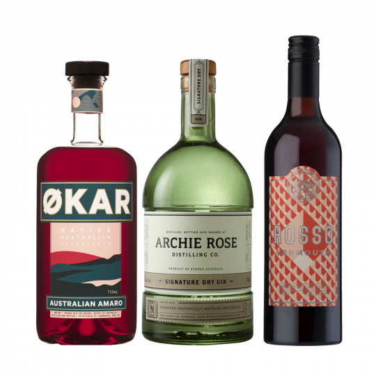 <p>A Negroni as complex, vibrant and multicultural as the country we call home.</p><p>Archie Rose Signature Dry sees&nbsp;native sunrise lime, Geraldton waxflower and hand foraged Dorrigo pepperleaf unite the east and west coasts to deliver a quintessentially Australian dry gin while the&nbsp;Okar Amaro turns native Riberries, Davidson Plum and Strawberry Gum leaf into an aromatic Italian-style aperitif.&nbsp;Adelaide Hills Distillery Vermouth Rosso channels old vine Grenache with spicy, berry fruitiness, lifted by additions of native anise myrtle, quandong, finger line and sunrise lime. Together, it's an unforgettable, utterly unique Negroni.</p><p><strong>We'll send:</strong></p><p>1 x Archie Rose Signature Dry Gin 700ml <br> 1 x Applewood Distillery Okar Amaro 750ml<br> 1 x Adelaide Hills Distillery Vermouth Rosso 750ml <br><br><br><strong>You'll need:</strong></p><p>Old Fashioned Glass <br> An Orange <br><br><br><br><strong>With these ingredients:</strong></p><p><br> 30ml Applewood Distillery Okar Amaro <br> 30ml Archie Rose Signature Dry Gin <br> 30ml Adelaide Hills Distillery Vermouth Rosso <br><br><br><strong>Do This:</strong></p><p>Stir all ingredients with ice, fine strain into an ice-filled glass. <br><br><br><br><strong>This pack will make 23 cocktails</strong> </p>