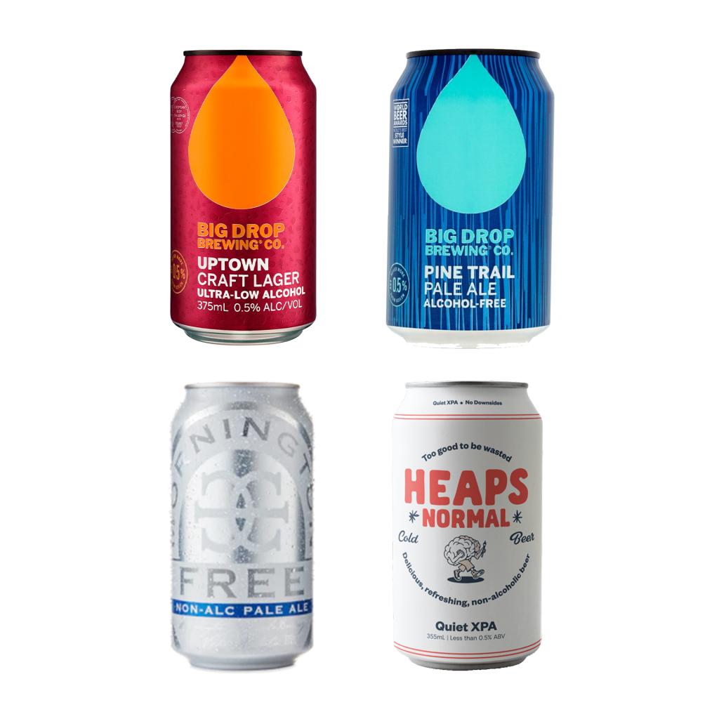 <p>8 x Heaps Normal Quiet Xpa : 355ml<br>6 x Mornington Free Non-Alc Pale Ale 0.5% Cans : 375ml<br>6 x Big Drop Brewery Uptown Crafted 0.5% Lager : 375ml<br>4 x Big Drop Brewery Pine Trail 0.5% Pale Ale : 375ml</p>