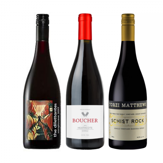 """<p dir=""""ltr""""><span>From BBQ chicken wings to rib eye fillet, these wines are sure to impress at your next cook-up, without breaking the bank.&nbsp;<br><br></span></p><p dir=""""ltr""""><span>Featuring a bright but savoury Sangiovese from Clare, a twist of sweet and spicy oak from the Heathcote Shiraz, and a Barossa Shiraz that will stand up next to any steak you care to match it with.<br><br></span></p><p dir=""""ltr""""><span>All are perfect companions to your smoky meat of choice. This 3 pack bundle has you covered for your next backyard BBQ.<br><br></span></p><p>1 x Dilettante Sangiovese 750ml, Clare Valley, SA</p><p>1 x Boucher Heathcote Shiraz 750ml, Heathcote, Vic</p><p>1 x Torzi Mathews Schist Shiraz 750ml, Barossa Valley, SA</p><p><br><br></p>"""