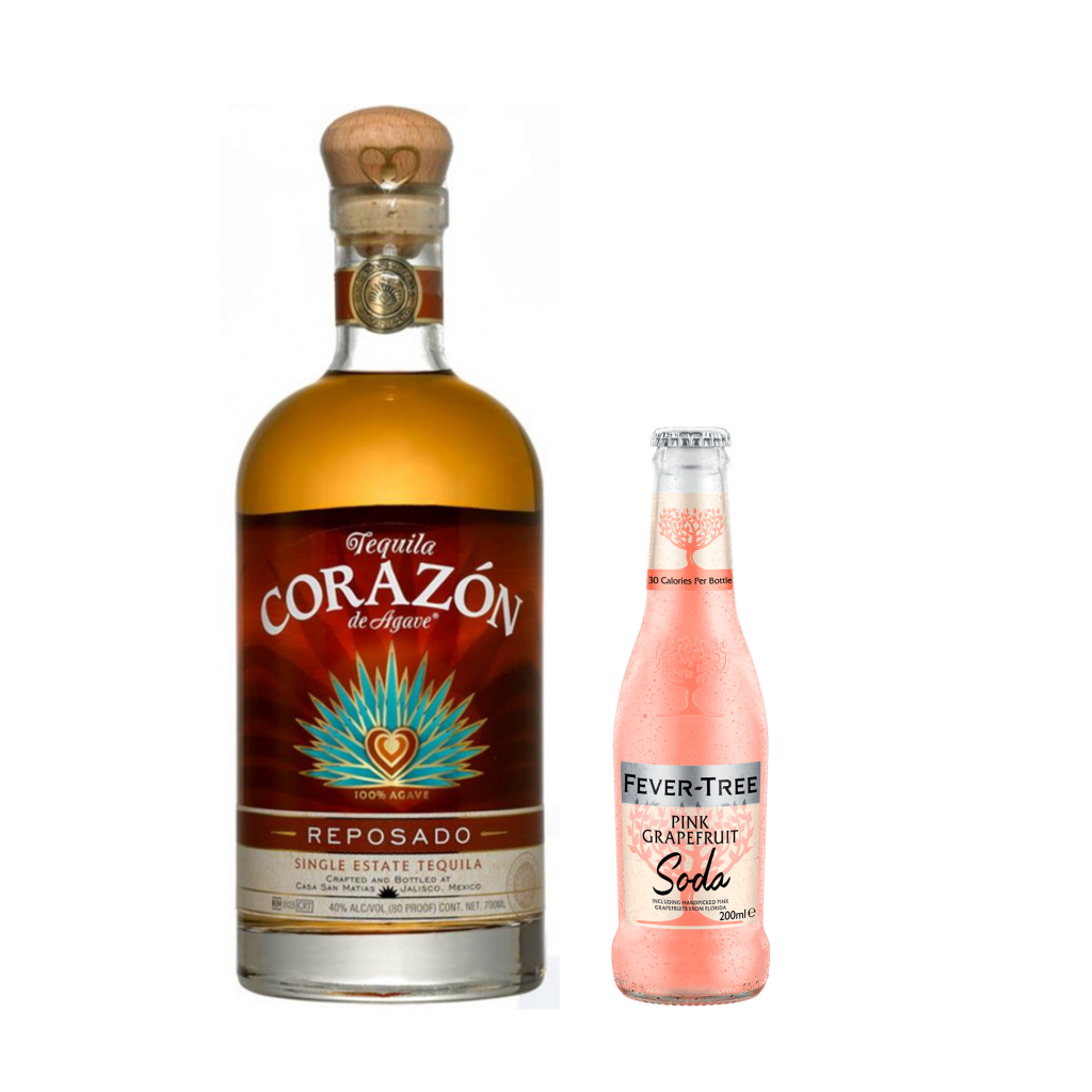 <p><strong>Corazón Reposado was named the World's Best Tequila at the 2021 World Tequila Awards!&nbsp;</strong></p><p>Step up your Paloma game with the worlds best tequila and Fever Tree soda.&nbsp;&nbsp;</p><p><strong>We'll send:</strong></p><p>1x Corazon Reposado Tequila 700ml<br> 4x Fever Tree Pink Grapefruit Soda 200ml<br><br><strong>You'll need:</strong></p><p>Lime Juice <br> A Collins Glass <br> Pink Grapefruit <br><br><strong>With these ingredients:</strong></p><p>50ml Corazon Reposado Tequila<br> 7.5ml Lime Juice<br> 120ml Fever Tree Pink Grapefruit Soda<br><br><strong>Do This:</strong></p><p>Pour into an ice filled glass and stir gently. <br> Garnish with a wedge of pink grapefruit. <br><br><strong>This pack will make 8 cocktails with 1/2 a bottle of tequila to spare. Grab some extra grapefruit soda on your way out if you're having a party.</strong></p>