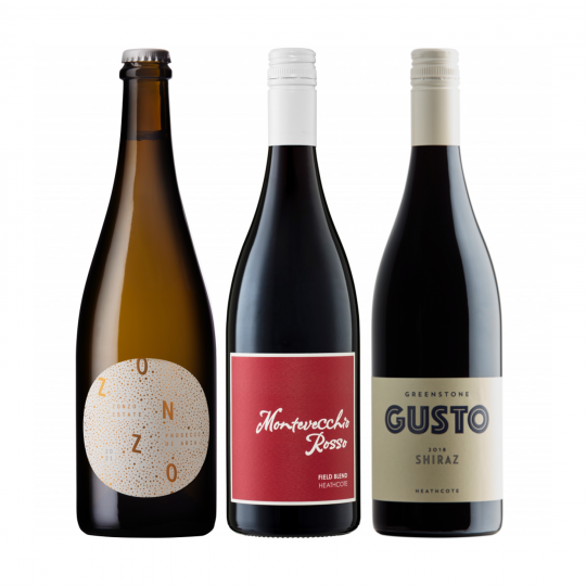 """<p dir=""""ltr""""><span>Or any Italian fare really.<br><br></span></p><p dir=""""ltr""""><span>It'd be blasphemous to start anywhere else than Prosecco. Zonzo Estate have created a deliciously well balanced aperitivo here. </span><span>Add Aperol if you want to step it up a notch.&nbsp;<br><br></span></p><p dir=""""ltr""""><span>If you haven't tried Montevecchio yet, then you simply must.&nbsp;This red is produced from a vineyard consisting a co-habitation of grapes originating from all over Italy. Nero d'Avola from Sicily, Sangiovese from Tuscany, Lagrein from Sud-Tirol, Pavana from The Veneto, Piedirosso and Aglianico from Campania.&nbsp; Could there be a wine more appropriate for pizza?&nbsp; We think not.<br><br></span></p><p dir=""""ltr""""><span>Sangiovese, the grape of Tuscany's famous Chianti region, is the quintessential Italian red wine.&nbsp;</span>Arguably their signature grape, Greenstone have made a more than decent iteration here; savoury, with cranberry and red currant fruit draped over lacy Sangio tannins.</p><p>Pizza wine plus.</p><p dir=""""ltr""""><span>&nbsp;</span></p><p>1 x Zonzo Estate Prosecco 750ml, Yarra Valley, Vic</p><p><br>1 x Montevecchio Rosso 750ml, Heathcote, Vic</p><p><br>1 x Greenstone Gusto Sangiovese 750ml, Heathcote, Vic</p>"""