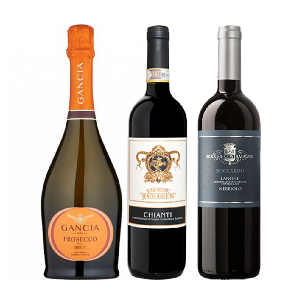 """<p dir=""""ltr""""><span>Or any Italian fare really.<br><br></span></p><p dir=""""ltr""""><span>It'd be blasphemous to start anywhere else than Prosecco. Produced by Italy's first sparkling wine producer, Gancia is an icon. </span><span>Add Aperol if you want to step it up a notch.&nbsp;<br><br></span></p><p dir=""""ltr""""><span>If you haven't tried Nebbiolo yet, then you simply must. And if you have, then you've already added this to the cart. Good choice.<br><br></span></p><p dir=""""ltr""""><span>Chianti, named for the town in Tuscany, is made from the Sangiovese grape and is the quintessential Italian red wine, but you already know that.<br><br></span></p><p>1 x Gancia Prosecco DOC Brut NV, Veneto, Italy</p><p>1 x Rocche Costamagna Langhe Nebbiolo, Piedemonte, Italy&nbsp;</p><p>1 x Viticoltori Senesi Aretini Chianti Reserva, Tuscany, Italy</p><p dir=""""ltr"""">&nbsp;</p>"""
