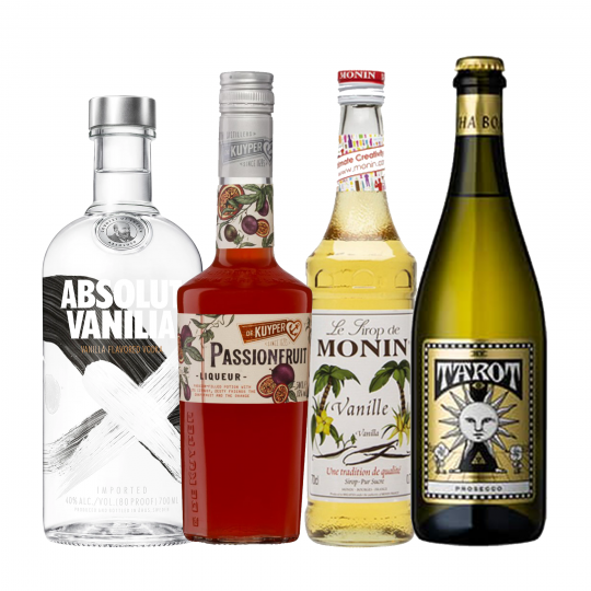 """<p><strong>We'll send:</strong></p><p><span style=""""font-weight: 400;"""">1x</span> <span style=""""font-weight: 400;"""">Absolut Vodka Vanilla : 700ml</span></p><p><span style=""""font-weight: 400;"""">1x</span> <span style=""""font-weight: 400;"""">De Kuyper Liqueur Passionfruit : 500ml</span></p><p><span style=""""font-weight: 400;"""">1x</span> <span style=""""font-weight: 400;"""">Monin Vanilla Syrup : 700ml</span></p><p><span style=""""font-weight: 400;"""">1x</span> <span style=""""font-weight: 400;"""">Alpha Box &amp; Dice 'Tarot' Prosecco NV : 750ml</span></p><p>&nbsp;</p><p><strong>You'll need:</strong></p><p><span style=""""font-weight: 400;"""">Limes</span></p><p><span style=""""font-weight: 400;"""">Passionfruit</span></p><p><span style=""""font-weight: 400;"""">A Martini Glass</span></p><p><span style=""""font-weight: 400;"""">Champagne Flute or Large Shot Glass.</span></p><p>&nbsp;</p><p><strong>With these ingredients:</strong></p><p><span style=""""font-weight: 400;"""">1 1/2</span> <span style=""""font-weight: 400;"""">Passionfruit</span></p><p><span style=""""font-weight: 400;"""">60ml</span> <span style=""""font-weight: 400;"""">Absolut Vodka Vanilla&nbsp;</span></p><p><span style=""""font-weight: 400;"""">15ml</span> <span style=""""font-weight: 400;"""">De Kuyper Liqueur Passionfruit&nbsp;</span></p><p><span style=""""font-weight: 400;"""">15ml</span> <span style=""""font-weight: 400;"""">Monin Vanilla Syrup&nbsp;</span></p><p><span style=""""font-weight: 400;"""">15ml</span> <span style=""""font-weight: 400;"""">Lime Juice</span></p><p><span style=""""font-weight: 400;"""">60ml</span> <span style=""""font-weight: 400;"""">Alpha Box &amp; Dice 'Tarot' Prosecco NV&nbsp;</span></p><p>&nbsp;</p><p><strong>Do This:</strong></p><p><span style=""""font-weight: 400;"""">S</span><span style=""""font-weight: 400;"""">coop out the flesh and seeds of 3 passionfruit halves, add to your shaker with all ingredients except the bubbles.</span></p><p><span style=""""font-weight: 400;"""">Shake all ingredients with ice and fine strain into a chilled glass.</span></p><p><span style=""""font-weight: 400;"""">Serve the bubbles i"""