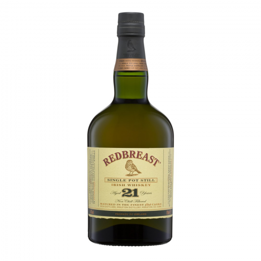 """<p>They say, <em>""""The 21 year ageing process introduces new levels of depth and an abundantly aromatic and fruitful flavour.&nbsp;Soft vanilla, toasted oak, sherry nuttiness with a dusting of spices. Luscious fleshy fruit notes complete the silky mouthfeel.""""</em></p><p>&nbsp;</p><p>Redbreast is considered the """"definitive expression"""" of Single pot still Irish Whiskey. Of course, there is still room for experimentation at the Midleton distillery, with a range of sherry and bourbon casks for ageing and finishing to produce bold, elegant Irish whiskies with their own distinct character.</p>"""